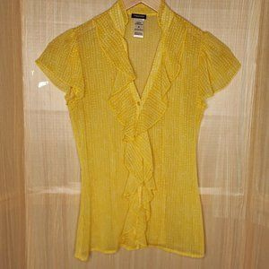 Maurices Yellow White Polka Dot Short Sleeve Top